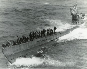 The German submarine that surfaced after Americans bombed it.