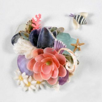 flowers and bees made from shells