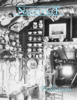 Black and white image of interior walls filled with china.