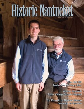 Cover of Historic Nantucket feturing A teen and older man seated on historic staircase.