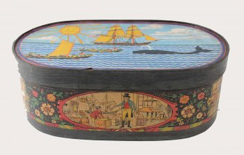 Bandbox with painted whaling scenes.