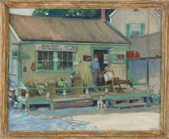Painting of a storefront with a Bon-Ton Fish Market sign.