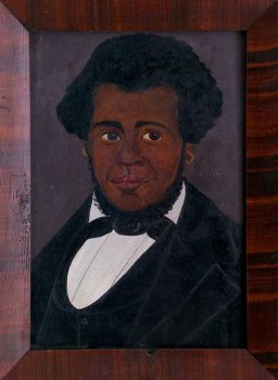 Painting of African American whaling captain.