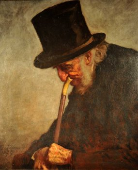 Portrait of a man with tall hat and pipe.