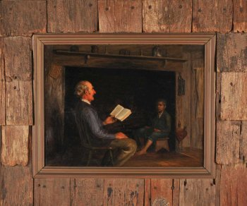 Oil Painting of older man reading to a young boy.