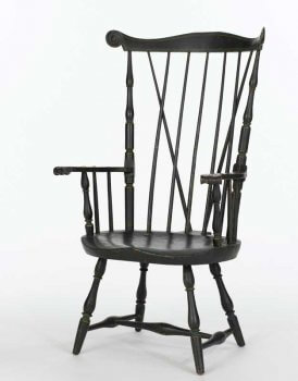 Windsor chair painted black.