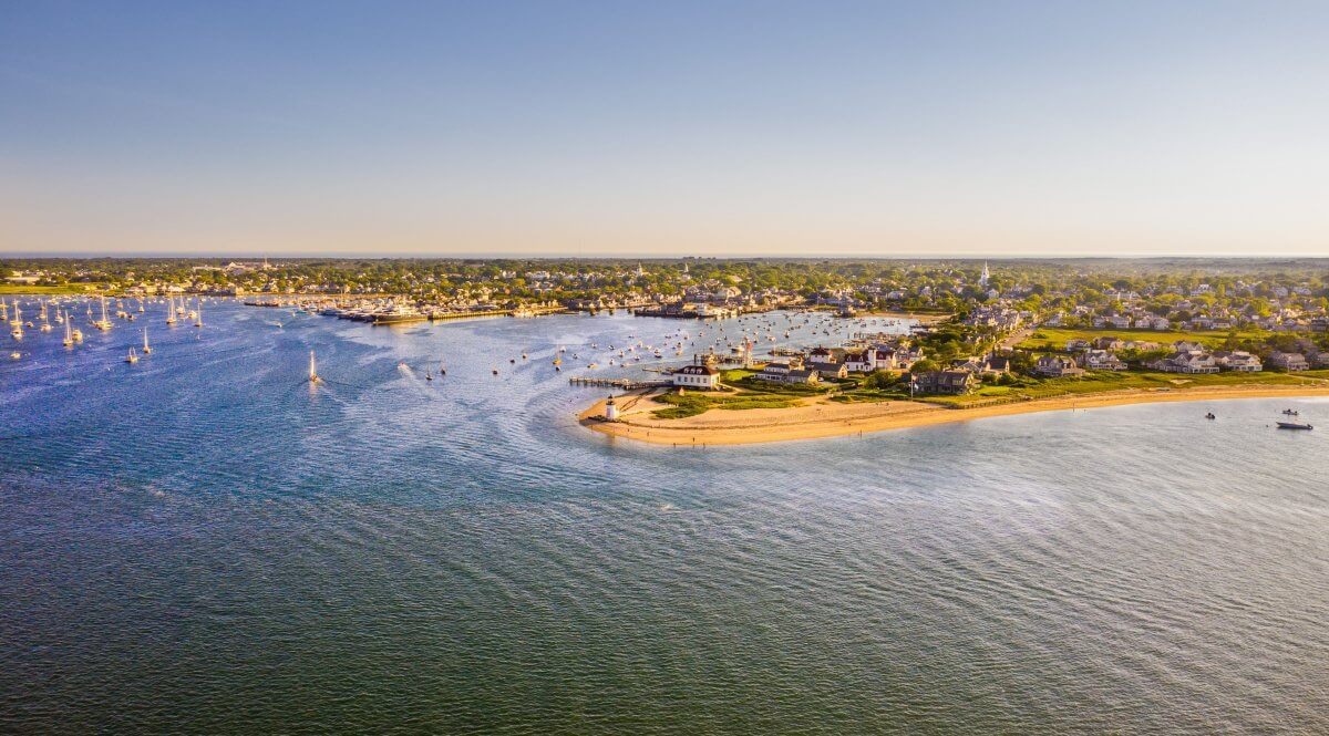 Nantucket harbor with an aerial view of boats and the downtown