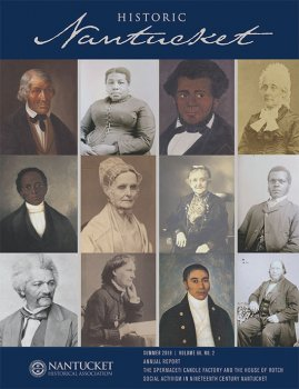 Cover of Historic Nantucket magizine with a collage of historic portraits.