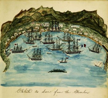 Watercolor of ships in an island harbor.