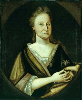 18th century portrait of woman holdin a flower