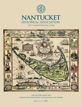 Catlalog Cover showcasing a color ful historic map of Nanutcket