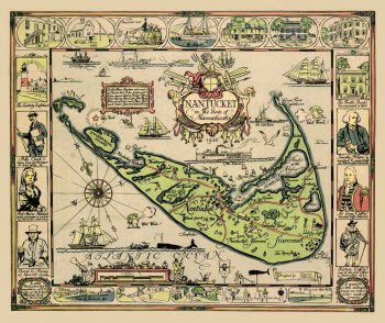 Colorful map of Nantucket by Tony Sarg