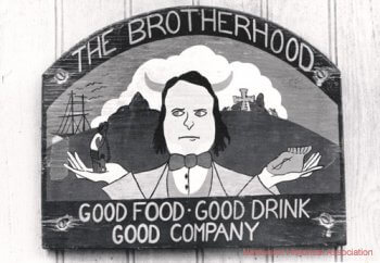 Photo of sign on front of door, Brotherhood of Thieves.