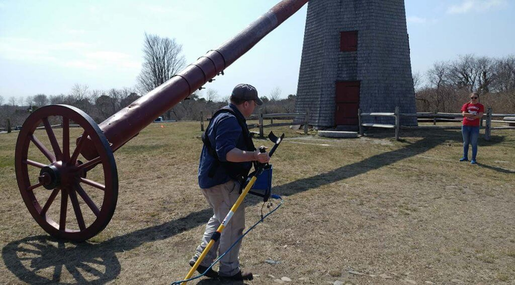 Salve Regina GPR survey at Old Mill conducted by Dr. Jon Bernard Marcoux and students.