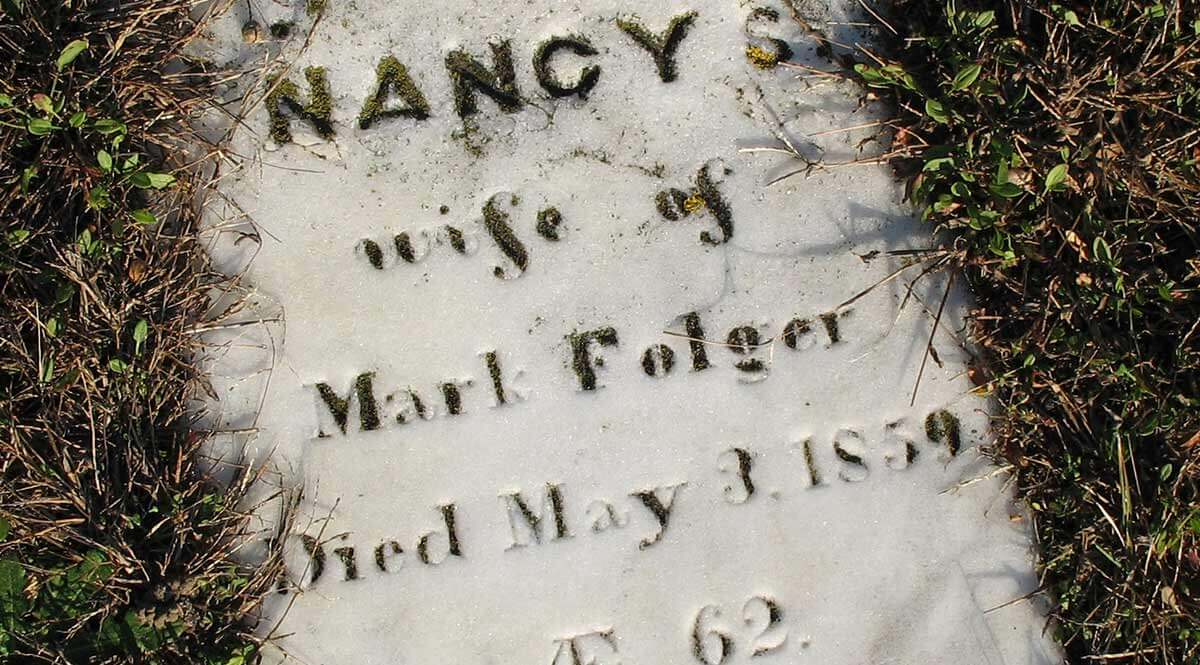Nancy S. Folger, Grave Marker, 1859, photographer Georgen Charnes