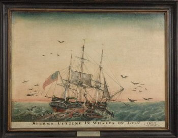 Painting of a whale ship in whaling scene.