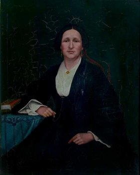Painting of 19th century woman seated.