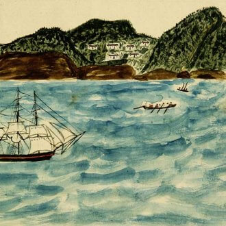 Water color of ships with island in the background.
