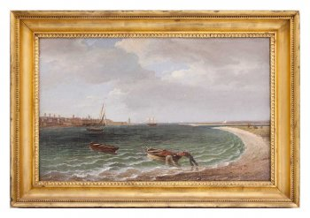 Painting of two men launching row boat from the beach.