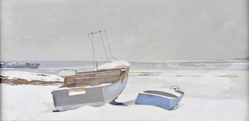 Painting of two boats on a snow covered beach.