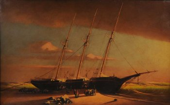painting depicting the wreck of a masted ship on the beach.
