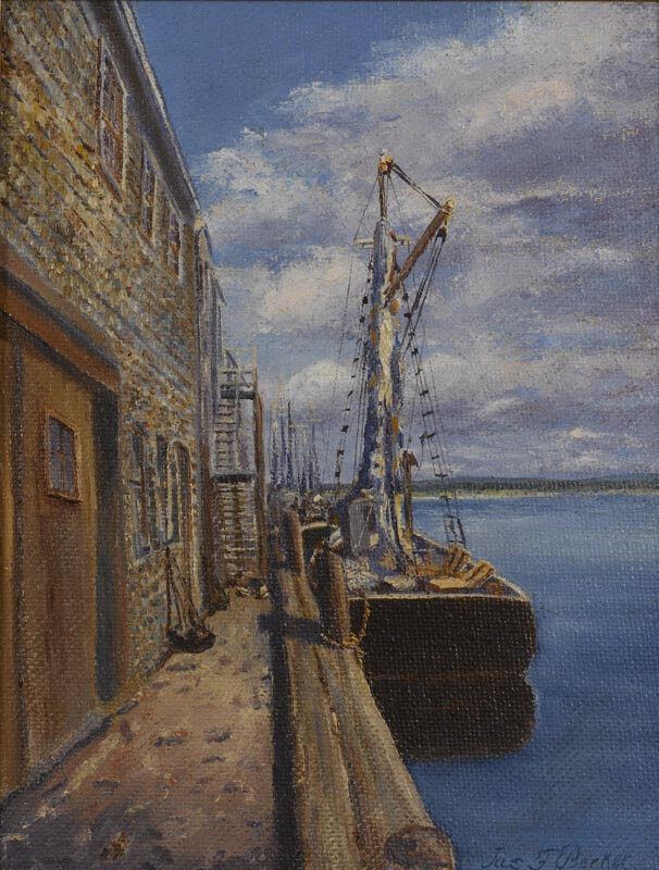 Painting of Fishing Vessel at Wharf.