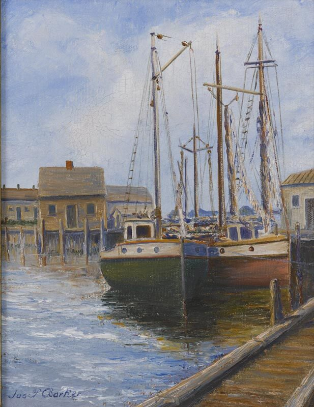 Painting of two sailnoats at dock.