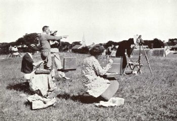 group plein air painting in a field