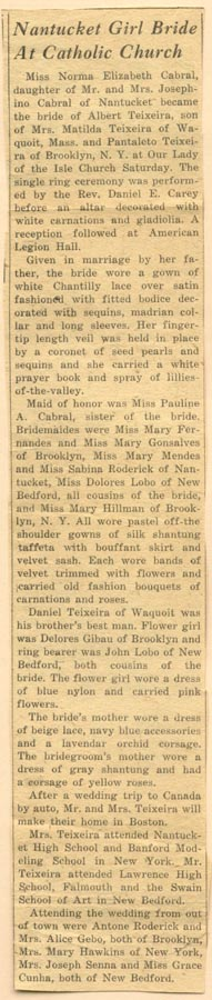 Newspaper article detailing wedding of Norma Elizabeth Cabral and Albert Teizeiza.